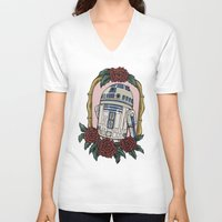 r2d2 V-neck T-shirts featuring R2D2 by Bare Wolfe