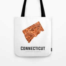 Connecticut - State Map Art - Abstract Map - Brown Tote Bag