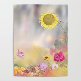 Beautiful Flowers in the  Garden Poster