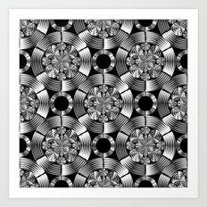 Shiny metallic damask Art Print