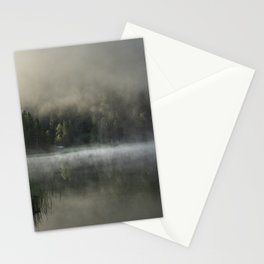 Misty Lake 2. Amazing shot of a wooden house in the Ferchensee lake in Bavaria, Germany, in front of a mountain belonging to the Alps. Scenic foggy morning scenery at sunrise. Stationery Cards