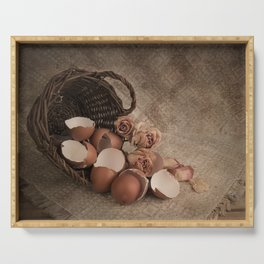 Basket with egg shells and roses Serving Tray