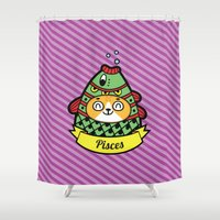 astrology Shower Curtains featuring MorCats Astrology Pisces by MorningMobi