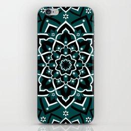'Immortal Spirit' Dark Teal Black & White Mandala Design iPhone Skin