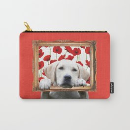 Golden Retriever with frame and poppies Carry-All Pouch