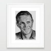 steve mcqueen Framed Art Prints featuring Steve Mcqueen by Kirstyturnerportraits