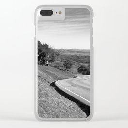 Winding road along the rolling hills near San Simeon, CA Clear iPhone Case