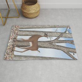 white-tailed deer & chickadees in the forest Rug