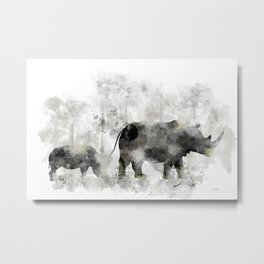 Rhino and Calf Metal Print