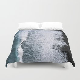 Aerial of a Black Sand Beach with Waves - Oceanscape Duvet Cover