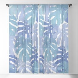 Monstera deliciosa | Blue Palette Sheer Curtain