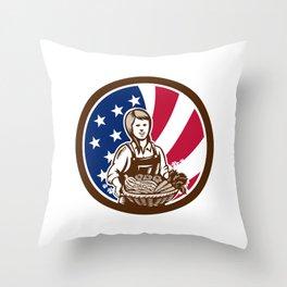 American Female Organic Farmer USA Flag Icon Throw Pillow
