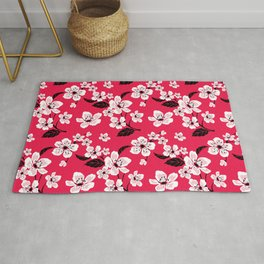 Pink Sakura Cherry Tree Flower Blooms - Aloha Hawaiian Floral Pattern Rug