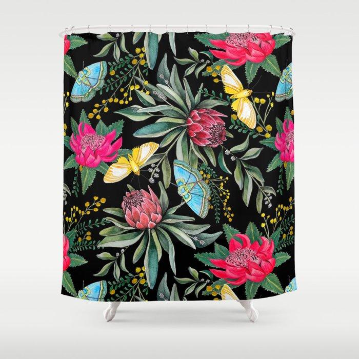 Protea flower botanical watercolor Shower Curtain