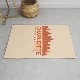 CHARLOTTE NORTH CAROLINA CITY MAP SKYLINE EARTH TONES Rug