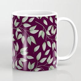 Watercolour leaves pattern on a Burgundy textured background Coffee Mug