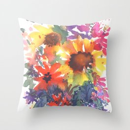 Rainy Day Sunflowers Throw Pillow