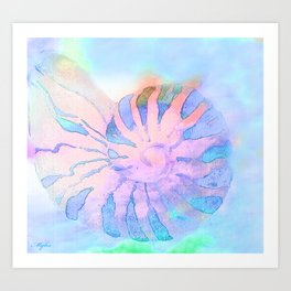 NAUTILUS CONCH SEA SHELL IMPRESSION Art Print