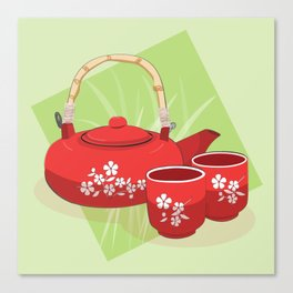 Red Tea Set Canvas Print