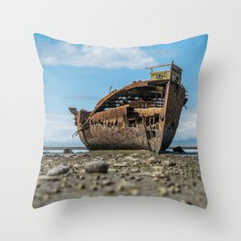Shipwreck on a Rocky Shore Throw Pillow