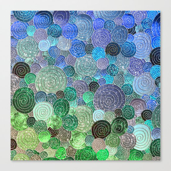 Abstract blue& green glamour glitter circles and polka dots for ladies Canvas Print
