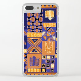 African Batik Collage Clear iPhone Case