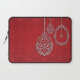 Silver lace hanging eggs on vibrant red background Laptop Sleeve