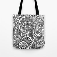 paisley Tote Bags featuring Paisley by Emma Lin