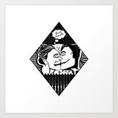 Love Hurts - Black & White Illustration of Couple Kissing Art Print