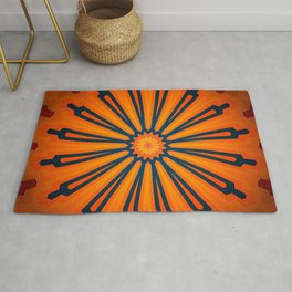 Rich Orange And Navy Blue Flower Mandala Rug