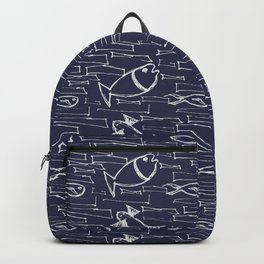 Scribbled urban pattern with fish and wild shapes in dark navy blue and white Backpack