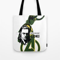 loki Tote Bags featuring LOKI by Mad42Sam