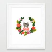 leah flores Framed Art Prints featuring Scout con Flores by Leah Romero