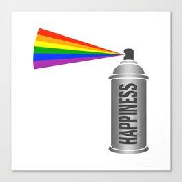 Happiness Spray Can - Rainbow Canvas Print