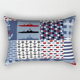 Navy Faux Quilt Rectangular Pillow