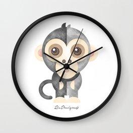 Watercolor Baby Monkey Wall Clock