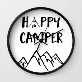 Happy Camper quote + Mountain for Kids Room Wall Clock