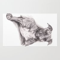 pit bull Area & Throw Rugs featuring Pit Bull Portrait in Charcoal by M.M. Anderson Designs