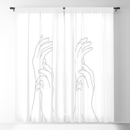 Minimal Line Art Feminine Hands Blackout Curtain