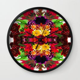 Psychedelic Floral Kaleidoscope #1  Wall Clock