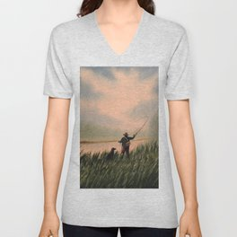 The Fly Fisherman With His Loyal Friend Unisex V-Neck