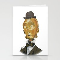 c3po Stationery Cards featuring Sir C3PO by theMAINsketch