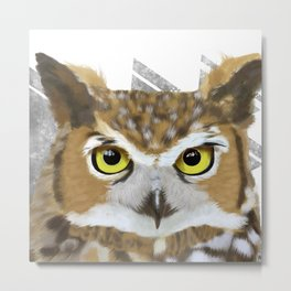 Great Horned Owl & Poly Thoughts Metal Print
