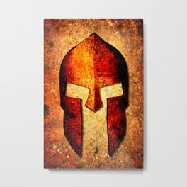 Spartan Helmet On Rust Background With A Color Burn Effect Metal Print