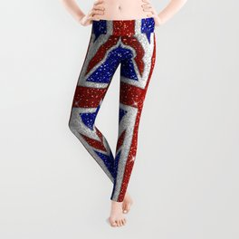 Glitters Shiny Sparkle Union Jack Flag Leggings