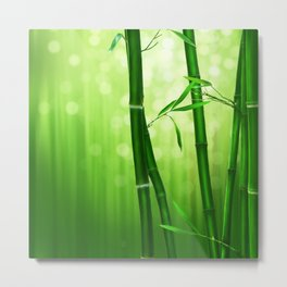 Bamboo Stalks with a Green Bokeh Background Metal Print