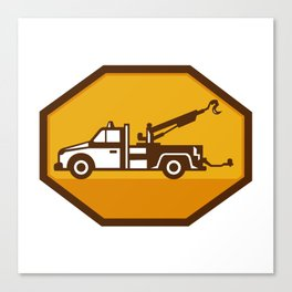 vintage tow wrecker truck side view retro Canvas Print