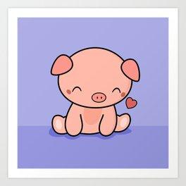 Cute Kawaii Pig With Heart Art Print