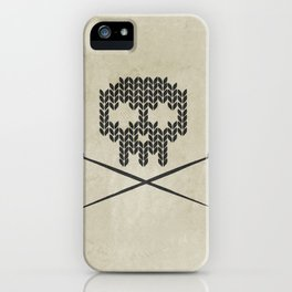 Knitted Skull - Black on Beige iPhone Case