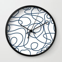 Doodle Line Art | Petrol Blue Lines on White Background Wall Clock